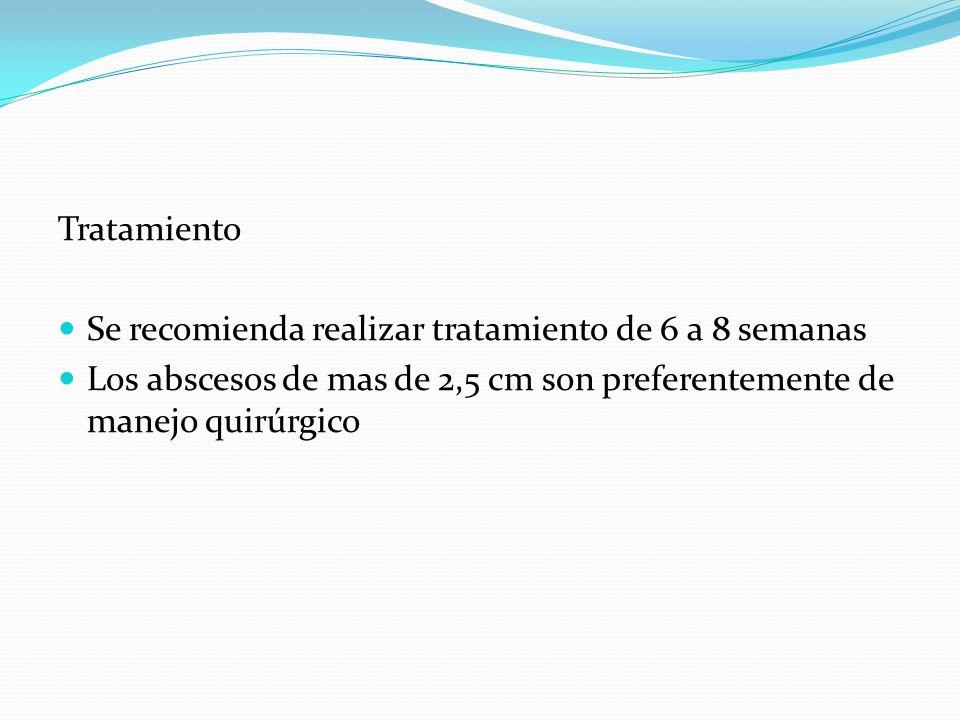 Tratamiento Se recomienda realizar tratamiento de 6 a 8 semanas Los abscesos de mas de 2,5 cm son preferentemente de manejo quirúrgico