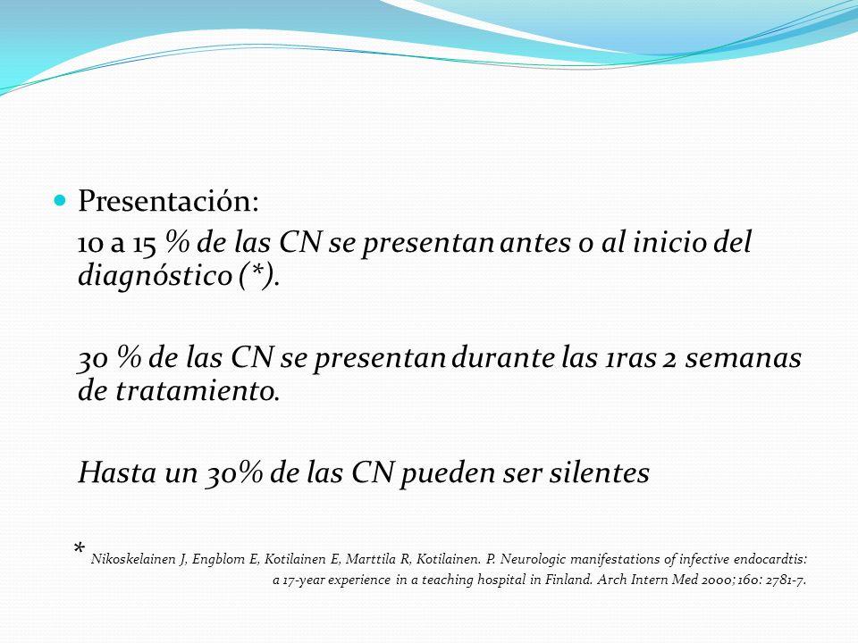 Presentación: 10 a 15 % de las CN se presentan antes o al inicio del diagnóstico (*). 30 % de las CN se presentan durante las 1ras 2 semanas de tratam