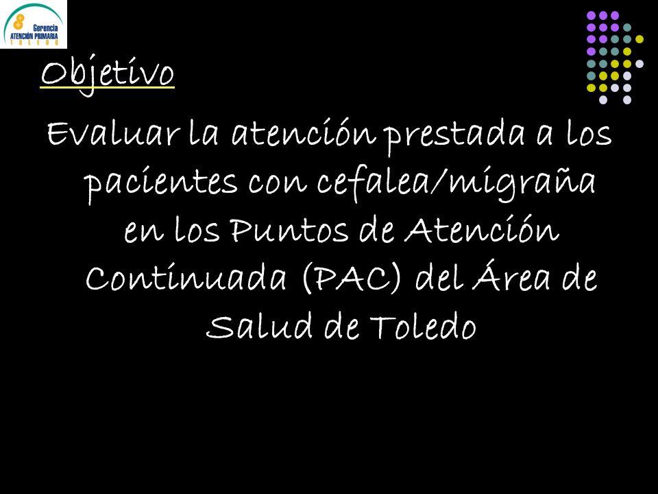 Objetivo Evaluar la atención prestada a los pacientes con cefalea/migraña en los Puntos de Atención Continuada (PAC) del Área de Salud de Toledo
