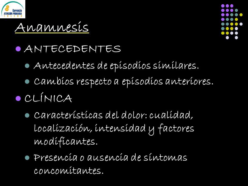 Anamnesis ANTECEDENTES Antecedentes de episodios similares. Cambios respecto a episodios anteriores. CLÍNICA Características del dolor: cualidad, loca