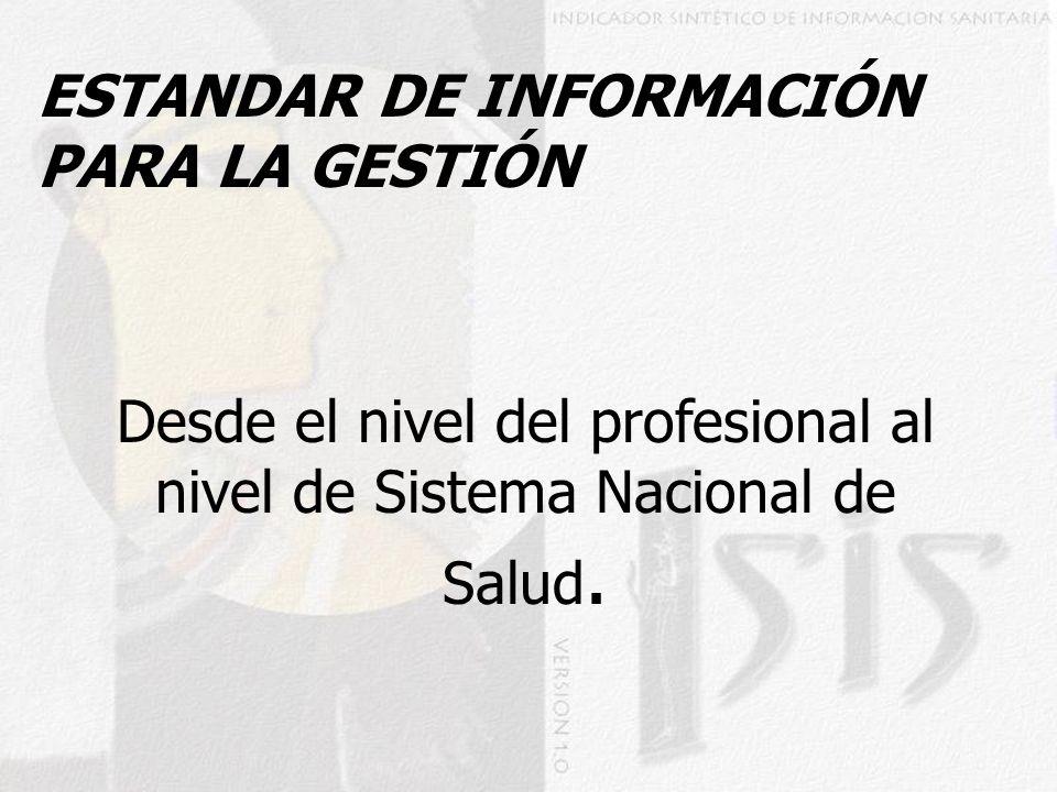 ESTANDAR DE INFORMACIÓN PARA LA GESTIÓN Desde el nivel del profesional al nivel de Sistema Nacional de Salud.