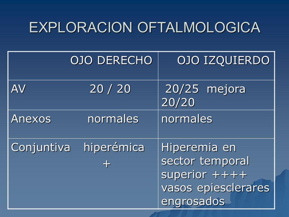 EXPLORACION OFTALMOLOGICA OJO DERECHO OJO DERECHO OJO IZQUIERDO OJO IZQUIERDO AV 20 / 20 20/25 mejora 20/20 20/25 mejora 20/20 Anexos normales normale