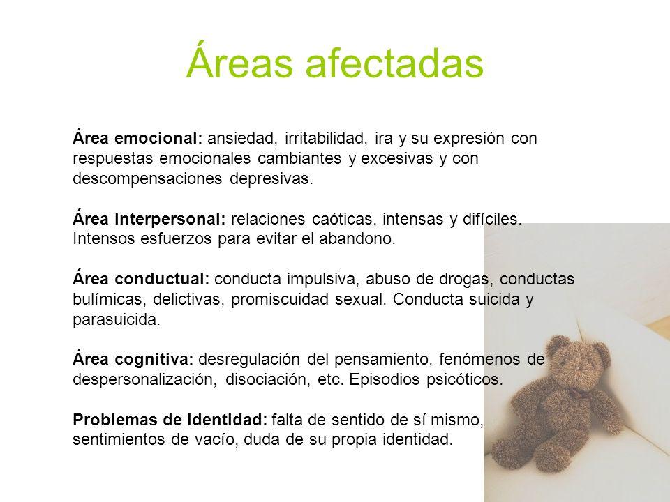 Áreas afectadas Área emocional: ansiedad, irritabilidad, ira y su expresión con respuestas emocionales cambiantes y excesivas y con descompensaciones