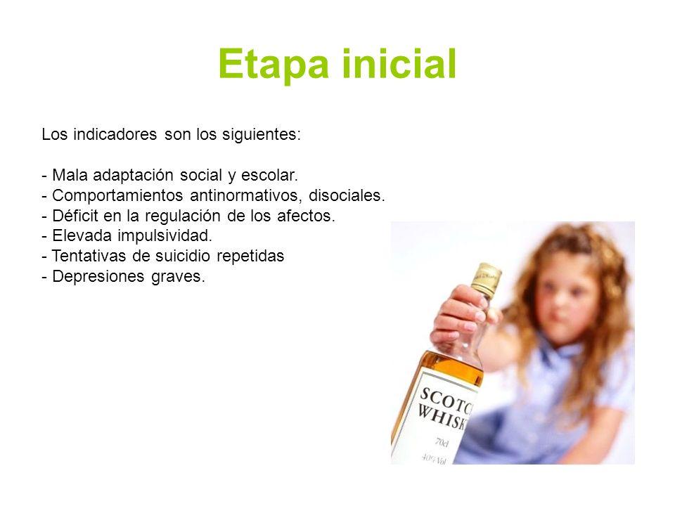 Etapa inicial Los indicadores son los siguientes: - Mala adaptación social y escolar. - Comportamientos antinormativos, disociales. - Déficit en la re