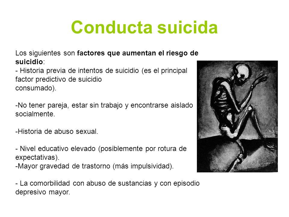 Conducta suicida Los siguientes son factores que aumentan el riesgo de suicidio: - Historia previa de intentos de suicidio (es el principal factor predictivo de suicidio consumado).