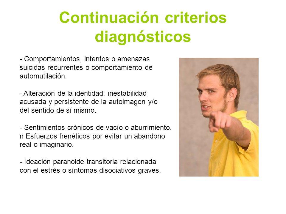 Continuación criterios diagnósticos - Comportamientos, intentos o amenazas suicidas recurrentes o comportamiento de automutilación. - Alteración de la