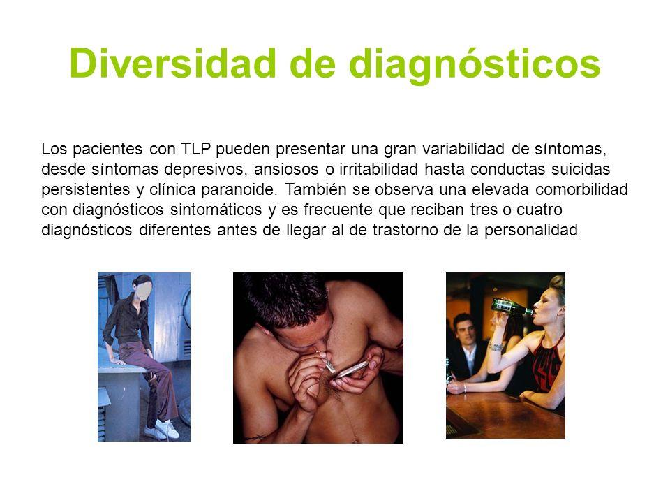 Diversidad de diagnósticos Los pacientes con TLP pueden presentar una gran variabilidad de síntomas, desde síntomas depresivos, ansiosos o irritabilid