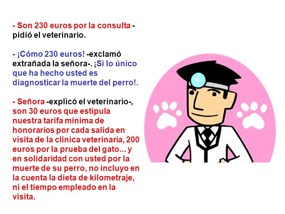 - Son 230 euros por la consulta - pidió el veterinario.
