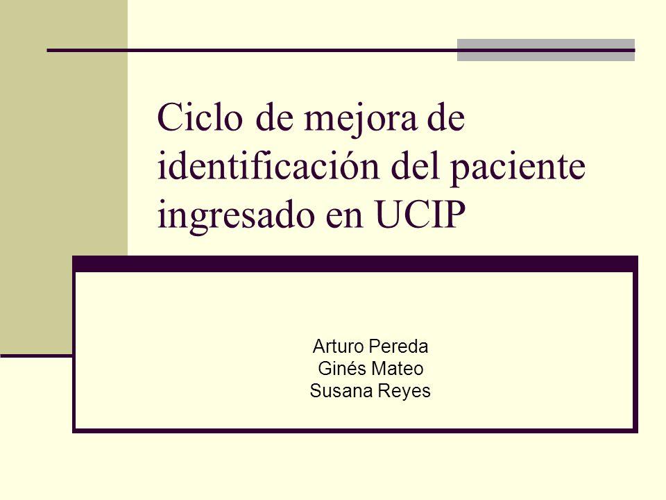 Ciclo de mejora de identificación del paciente ingresado en UCIP Arturo Pereda Ginés Mateo Susana Reyes