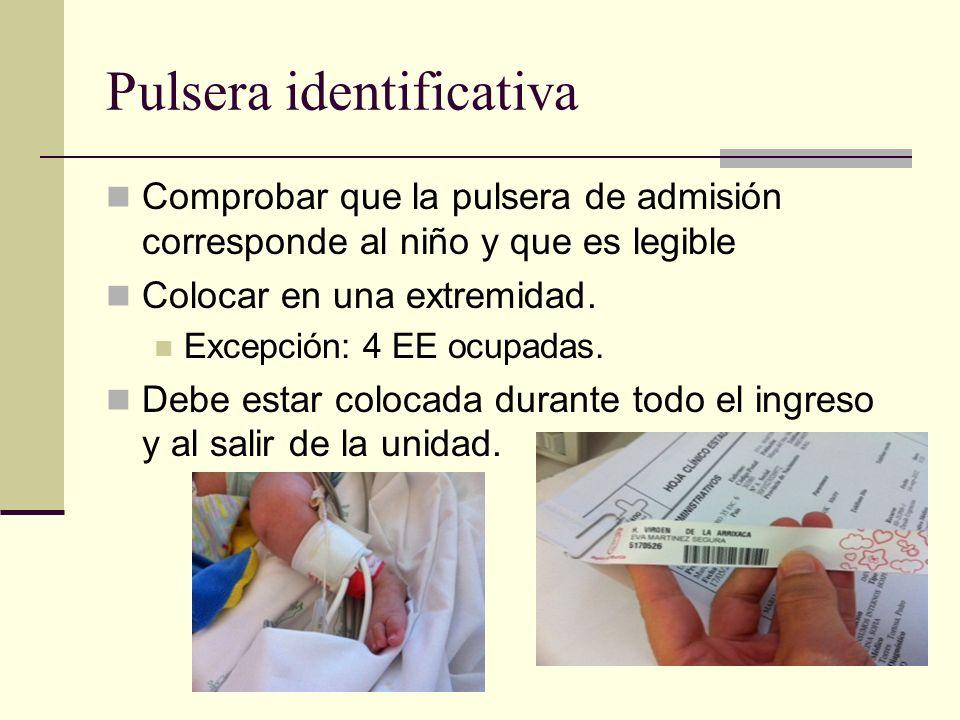 Pulsera identificativa Comprobar que la pulsera de admisión corresponde al niño y que es legible Colocar en una extremidad. Excepción: 4 EE ocupadas.