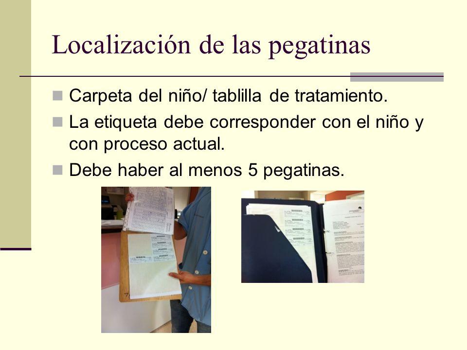 Localización de las pegatinas Carpeta del niño/ tablilla de tratamiento. La etiqueta debe corresponder con el niño y con proceso actual. Debe haber al