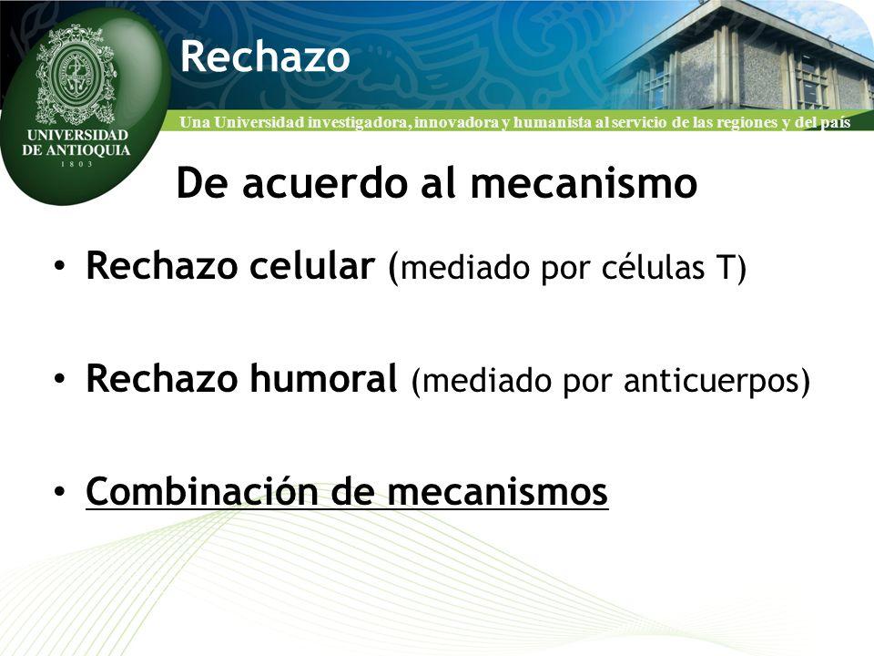 Una Universidad investigadora, innovadora y humanista al servicio de las regiones y del país Rechazo De acuerdo al mecanismo Rechazo celular ( mediado