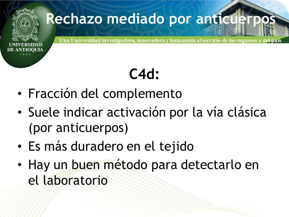 Una Universidad investigadora, innovadora y humanista al servicio de las regiones y del país Rechazo mediado por anticuerpos C4d: Fracción del complem