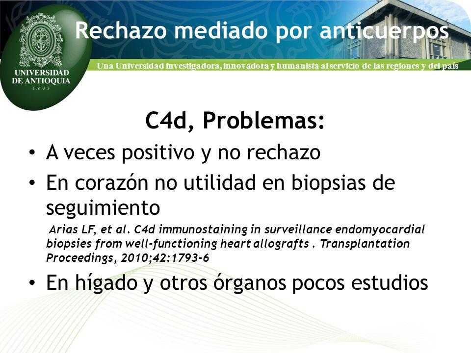 Una Universidad investigadora, innovadora y humanista al servicio de las regiones y del país Rechazo mediado por anticuerpos C4d, Problemas: A veces p