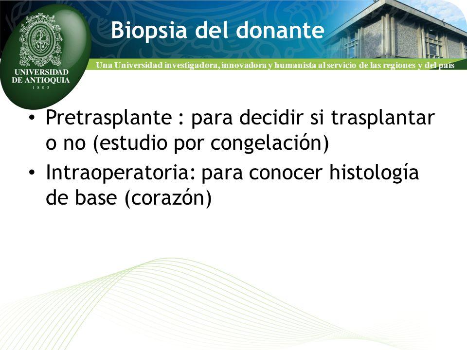 Una Universidad investigadora, innovadora y humanista al servicio de las regiones y del país Biopsia del donante Pretrasplante : para decidir si trasp