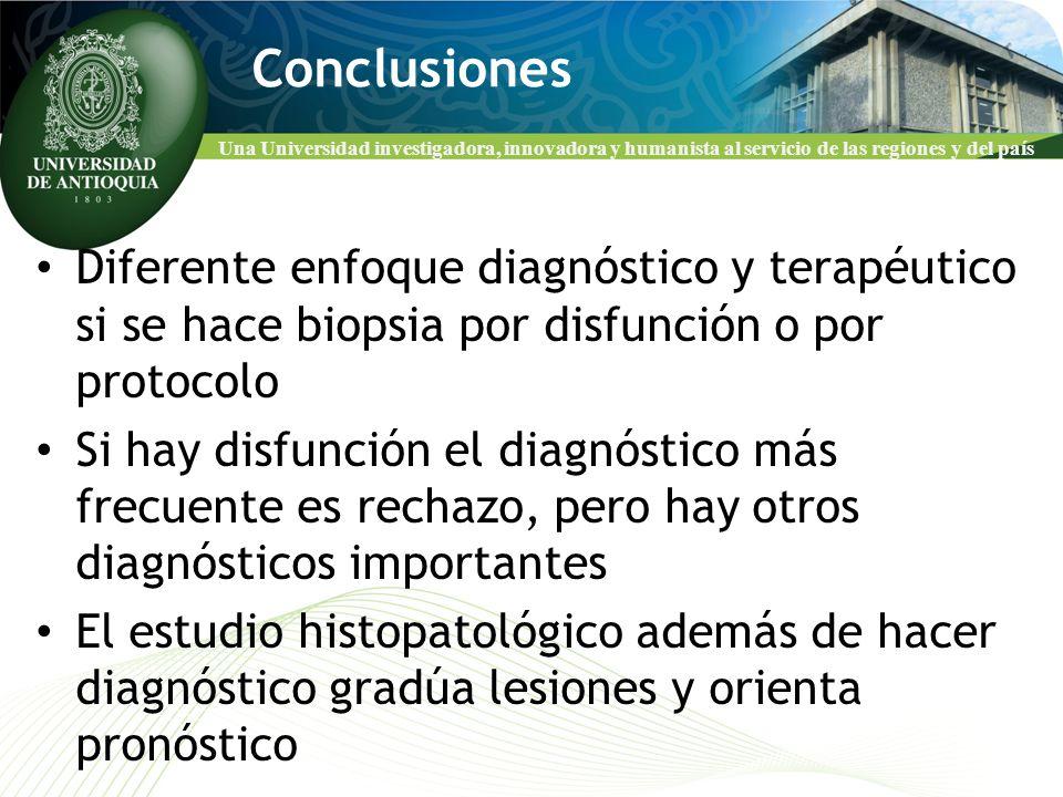 Una Universidad investigadora, innovadora y humanista al servicio de las regiones y del país Conclusiones Diferente enfoque diagnóstico y terapéutico