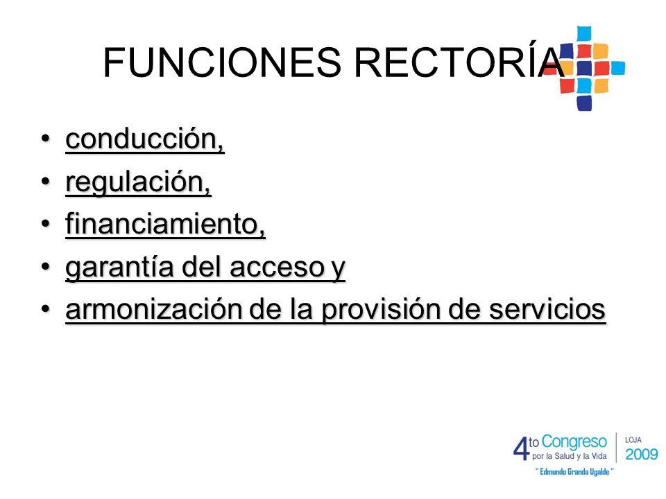 FUNCIONES RECTORÍA conducción,conducción, regulación,regulación, financiamiento,financiamiento, garantía del acceso ygarantía del acceso y armonización de la provisión de serviciosarmonización de la provisión de servicios