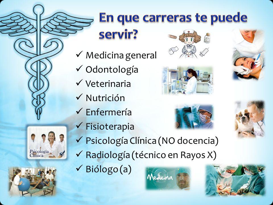 Medicina general Odontología Veterinaria Nutrición Enfermería Fisioterapia Psicología Clínica (NO docencia) Radiología (técnico en Rayos X) Biólogo (a