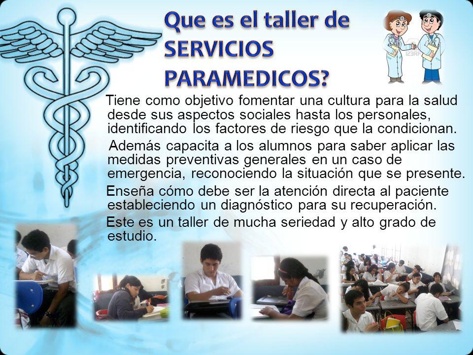 Tiene como objetivo fomentar una cultura para la salud desde sus aspectos sociales hasta los personales, identificando los factores de riesgo que la c