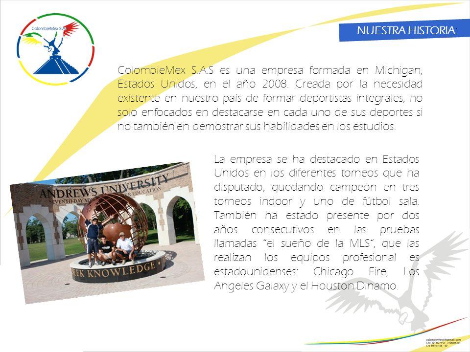 NUESTRA HISTORIA: ColombieMex S.A.S es una empresa formada en Michigan, Estados Unidos, en el año 2008.
