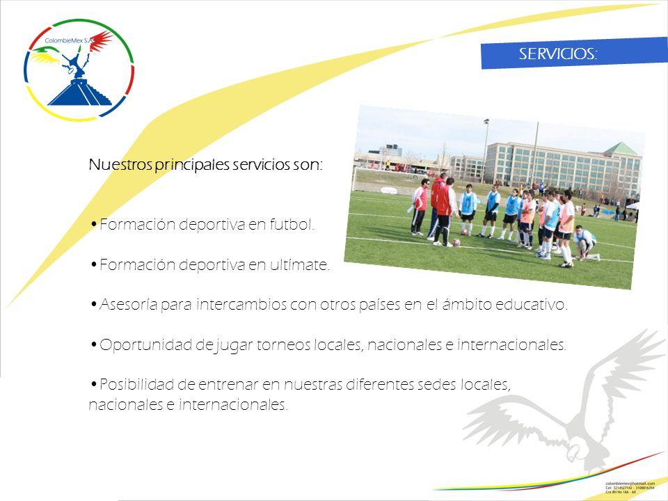 Nuestros principales servicios son: Formación deportiva en futbol.