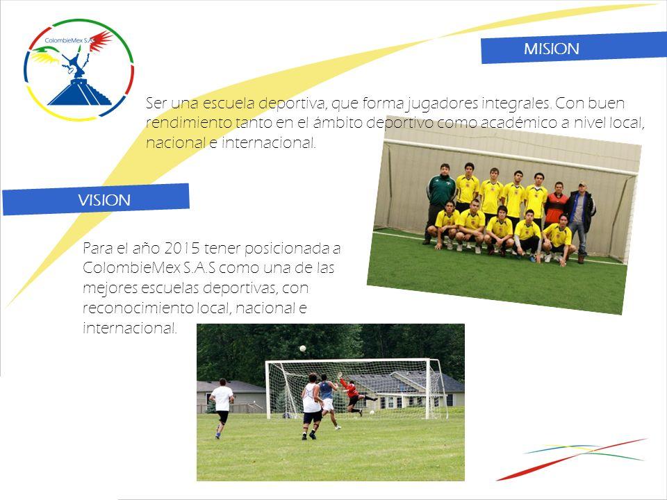 Para el año 2015 tener posicionada a ColombieMex S.A.S como una de las mejores escuelas deportivas, con reconocimiento local, nacional e internacional.
