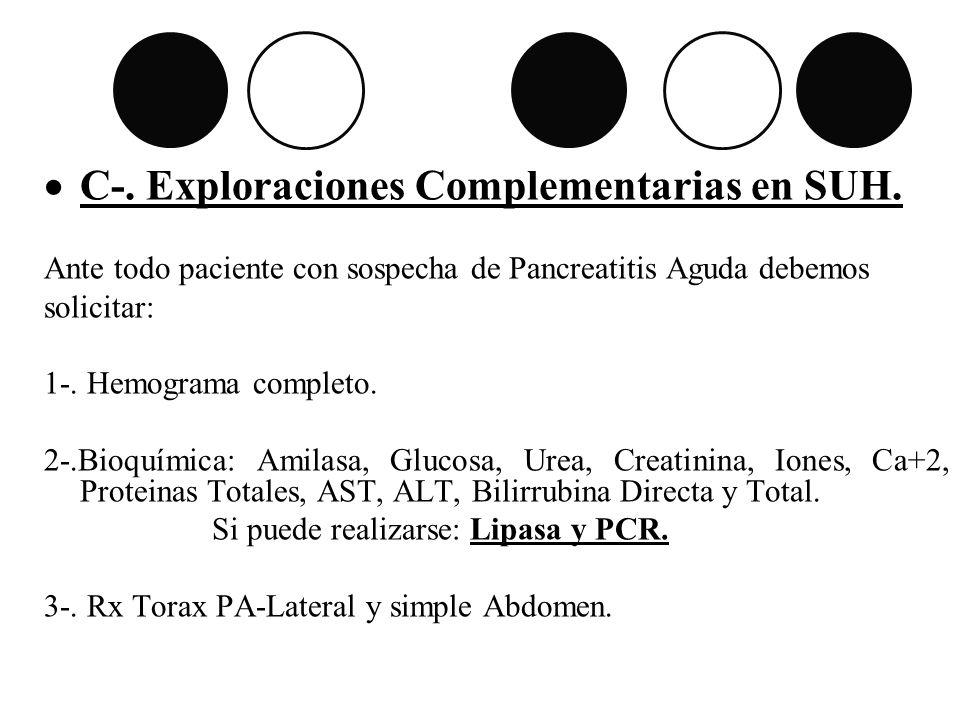 C-. Exploraciones Complementarias en SUH. Ante todo paciente con sospecha de Pancreatitis Aguda debemos solicitar: 1-. Hemograma completo. 2-.Bioquími