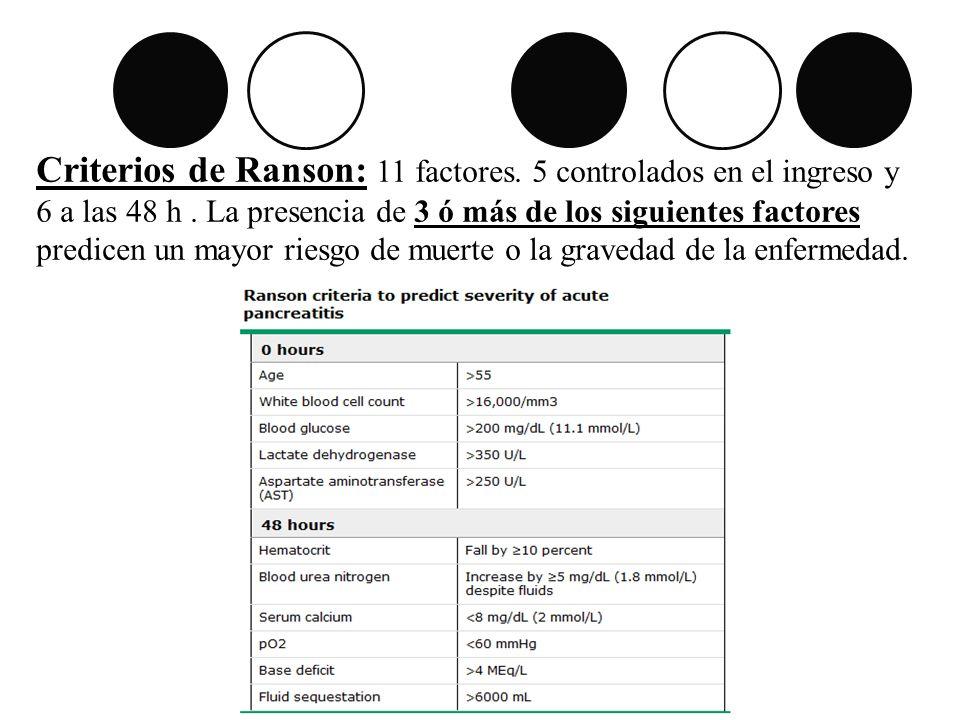 Criterios de Ranson: 11 factores. 5 controlados en el ingreso y 6 a las 48 h. La presencia de 3 ó más de los siguientes factores predicen un mayor rie
