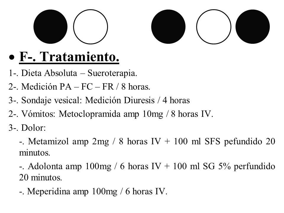F-. Tratamiento. 1-. Dieta Absoluta – Sueroterapia. 2-. Medición PA – FC – FR / 8 horas. 3-. Sondaje vesical: Medición Diuresis / 4 horas 2-. Vómitos: