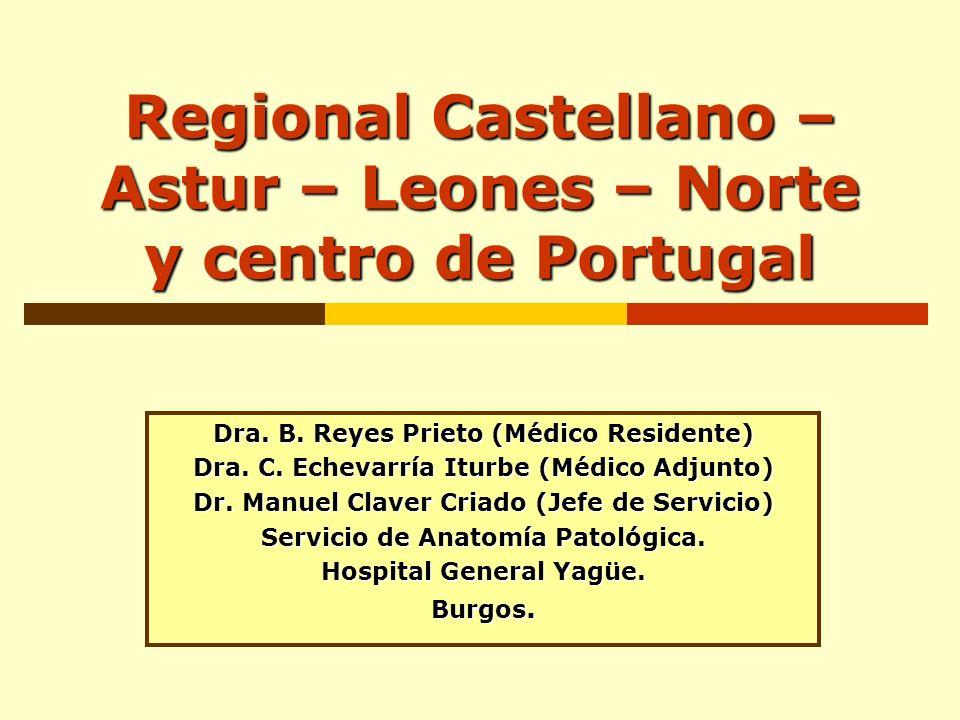 Regional Castellano – Astur – Leones – Norte y centro de Portugal Dra. B. Reyes Prieto (Médico Residente) Dra. C. Echevarría Iturbe (Médico Adjunto) D