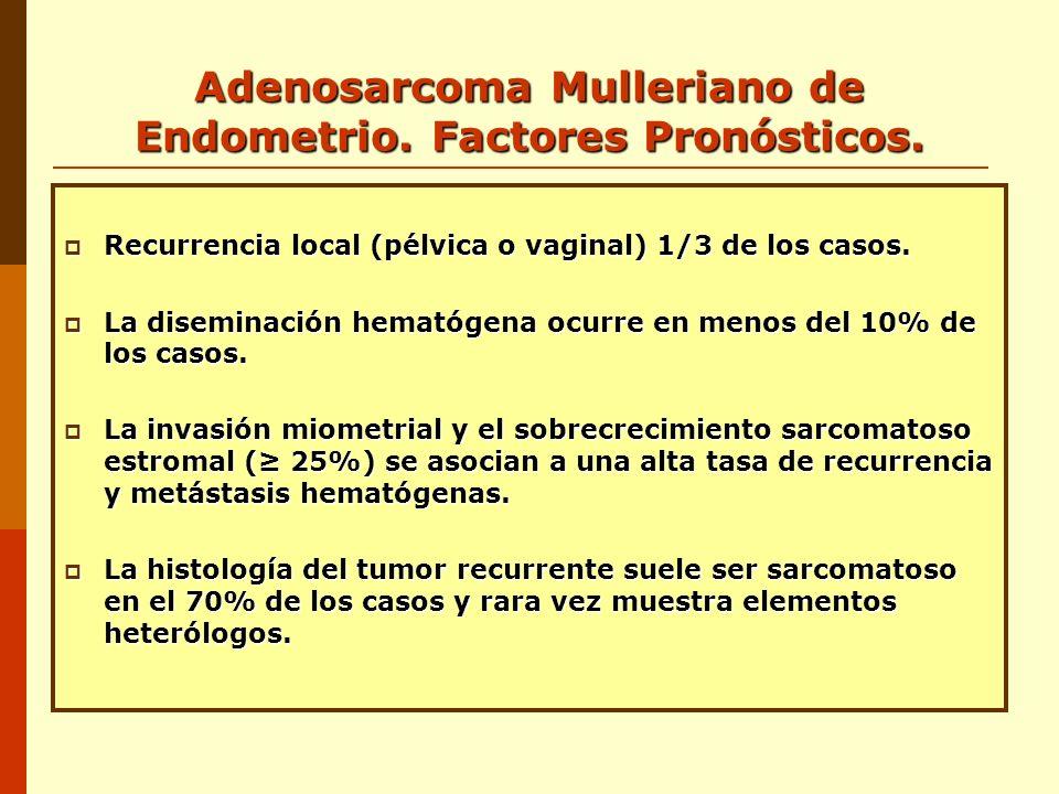 Adenosarcoma Mulleriano de Endometrio. Factores Pronósticos. Recurrencia local (pélvica o vaginal) 1/3 de los casos. Recurrencia local (pélvica o vagi