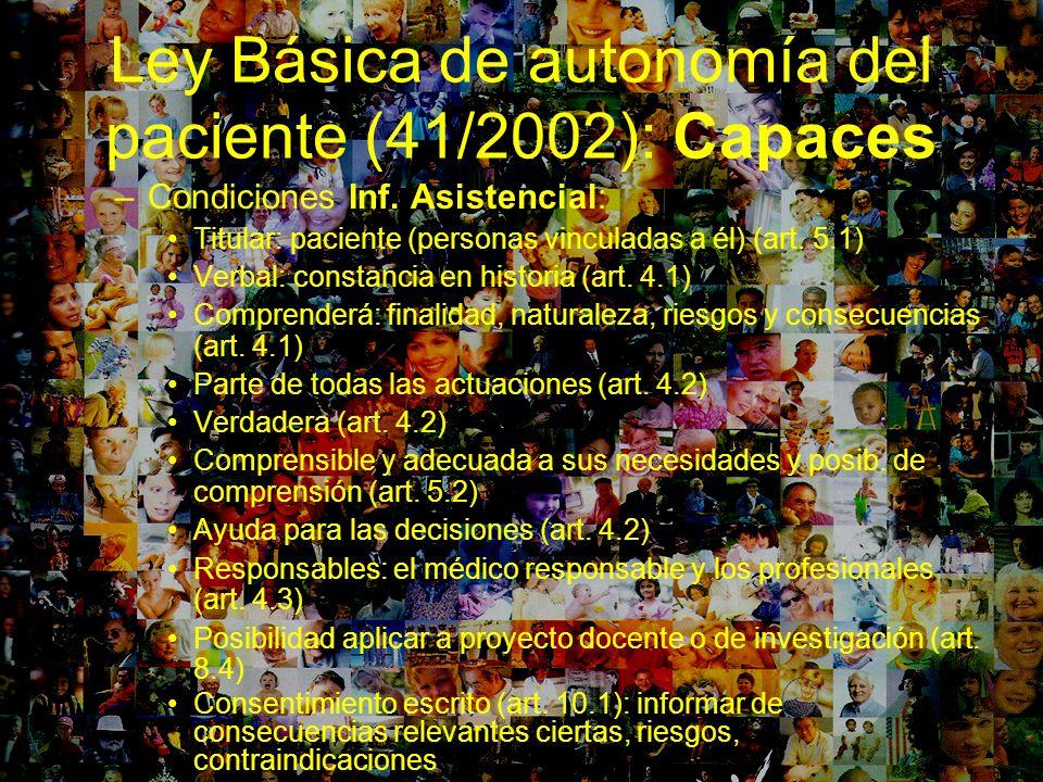 Ley Básica de autonomía del paciente (41/2002): Capaces –Condiciones Inf. Asistencial: Titular: paciente (personas vinculadas a él) (art. 5.1) Verbal: