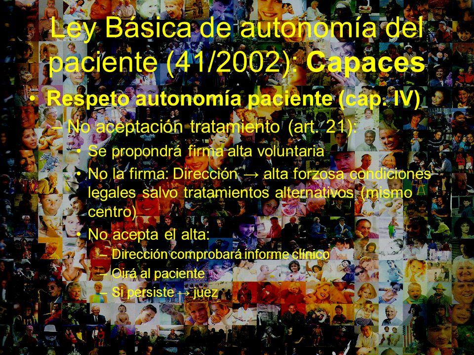 Ley Básica de autonomía del paciente (41/2002): Capaces Respeto autonomía paciente (cap. IV) –No aceptación tratamiento (art. 21): Se propondrá firma