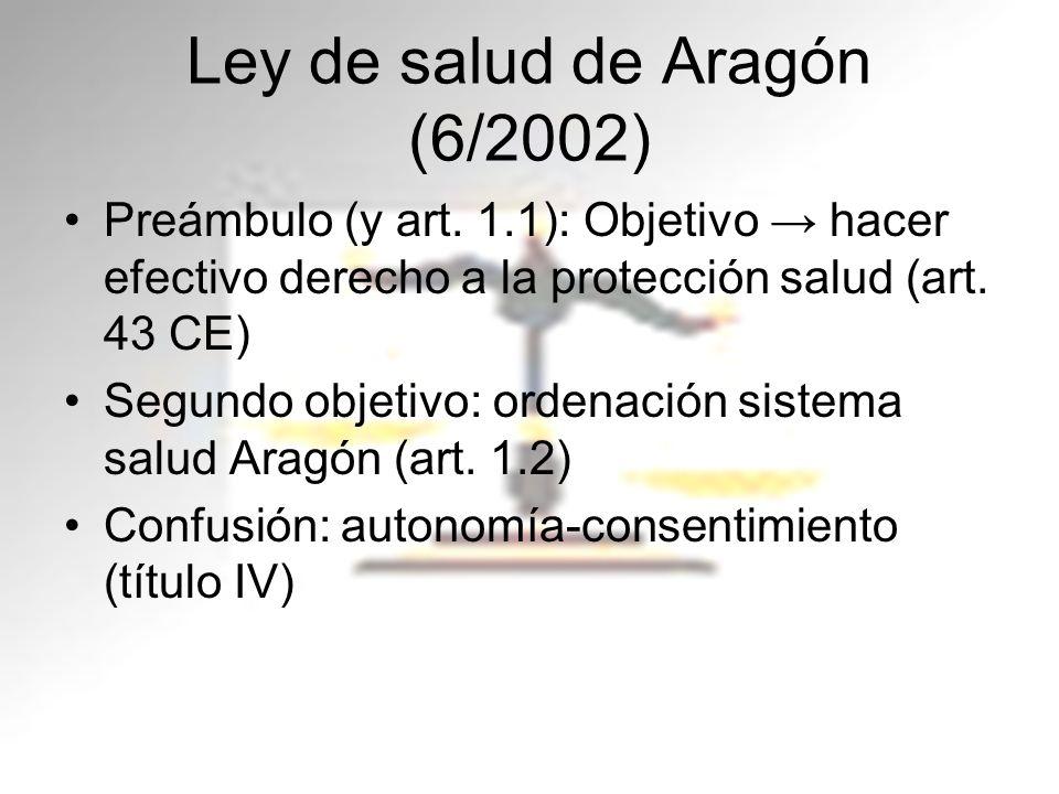 Ley de salud de Aragón (6/2002) Preámbulo (y art. 1.1): Objetivo hacer efectivo derecho a la protección salud (art. 43 CE) Segundo objetivo: ordenació