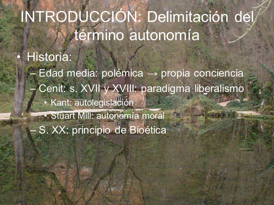 INTRODUCCIÓN: Delimitación del término autonomía Historia: –Edad media: polémica propia conciencia –Cenit: s. XVII y XVIII: paradigma liberalismo Kant