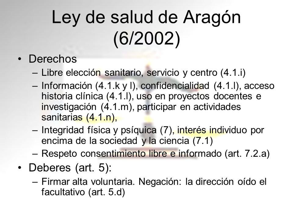 Ley de salud de Aragón (6/2002) Derechos –Libre elección sanitario, servicio y centro (4.1.i) –Información (4.1.k y l), confidencialidad (4.1.l), acce