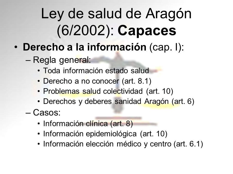 Ley de salud de Aragón (6/2002): Capaces Derecho a la información (cap. I): –Regla general: Toda información estado salud Derecho a no conocer (art. 8
