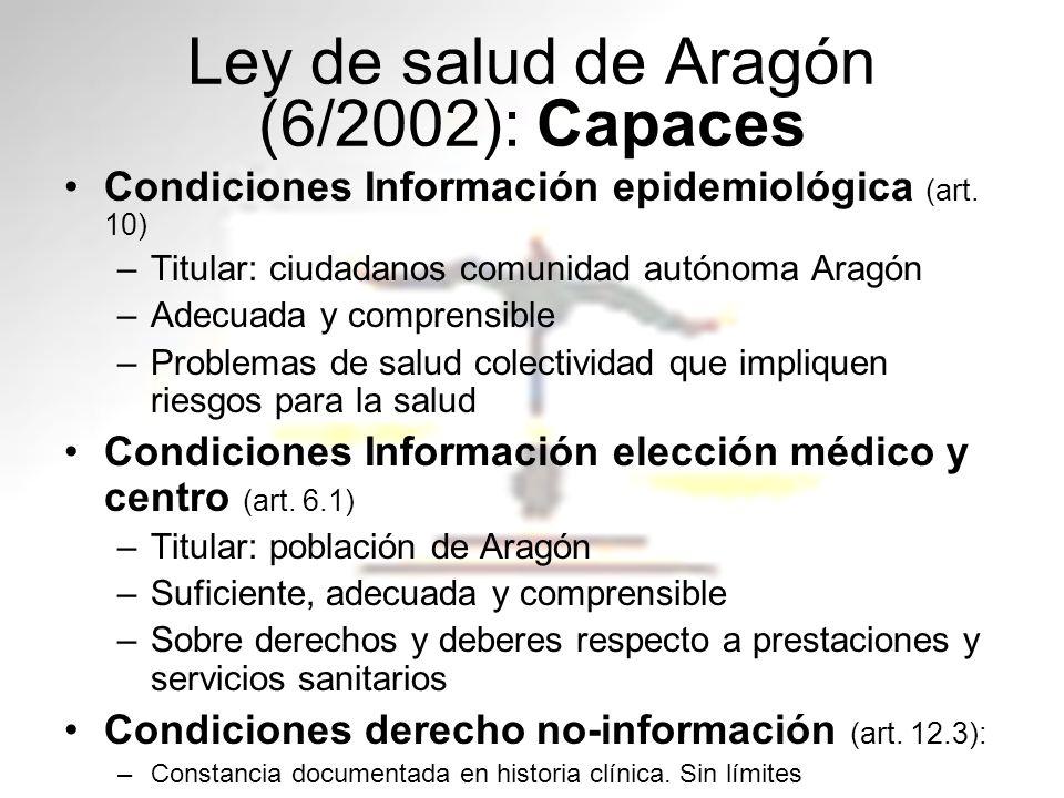 Ley de salud de Aragón (6/2002): Capaces Condiciones Información epidemiológica (art. 10) –Titular: ciudadanos comunidad autónoma Aragón –Adecuada y c