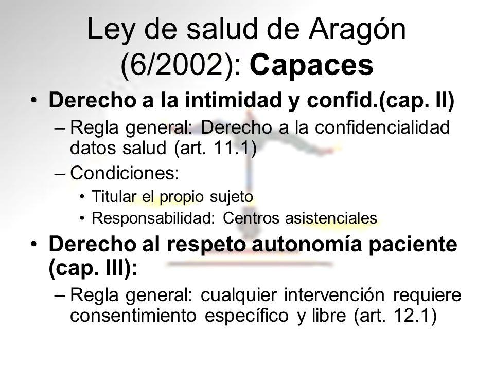 Ley de salud de Aragón (6/2002): Capaces Derecho a la intimidad y confid.(cap. II) –Regla general: Derecho a la confidencialidad datos salud (art. 11.