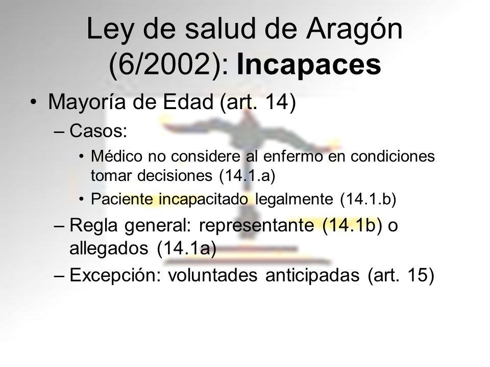 Ley de salud de Aragón (6/2002): Incapaces Mayoría de Edad (art. 14) –Casos: Médico no considere al enfermo en condiciones tomar decisiones (14.1.a) P
