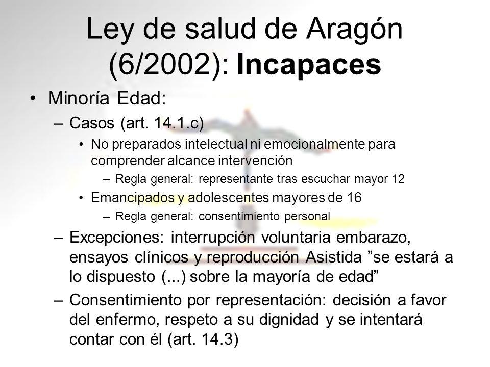 Ley de salud de Aragón (6/2002): Incapaces Minoría Edad: –Casos (art. 14.1.c) No preparados intelectual ni emocionalmente para comprender alcance inte