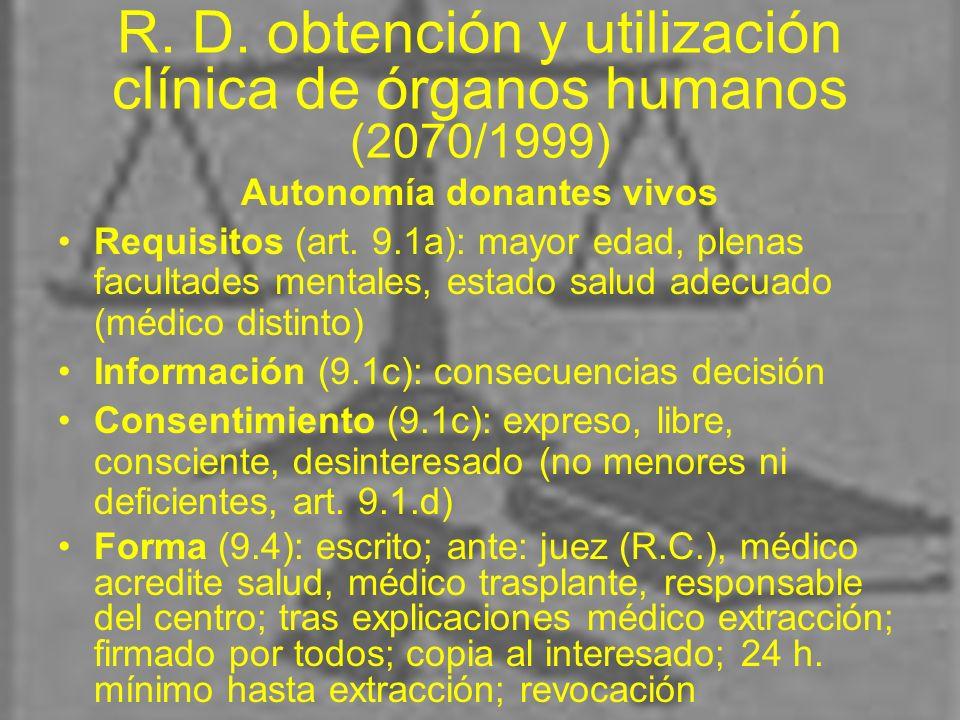 R. D. obtención y utilización clínica de órganos humanos (2070/1999) Autonomía donantes vivos Requisitos (art. 9.1a): mayor edad, plenas facultades me