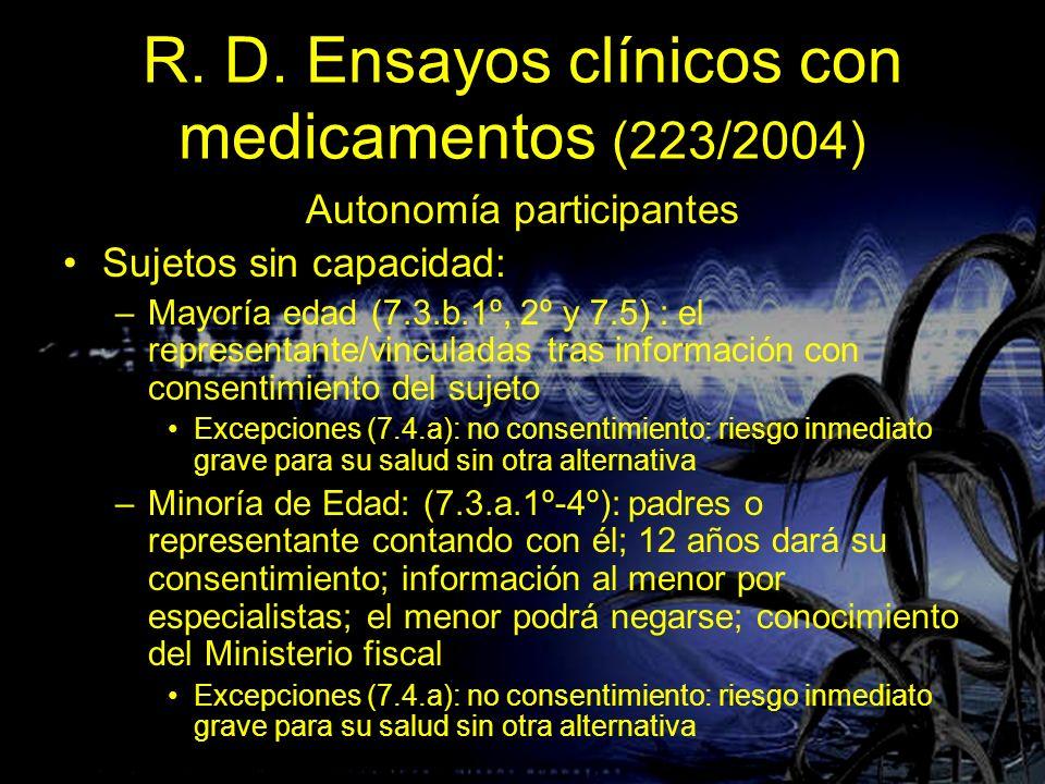 R. D. Ensayos clínicos con medicamentos (223/2004) Autonomía participantes Sujetos sin capacidad: –Mayoría edad (7.3.b.1º, 2º y 7.5) : el representant