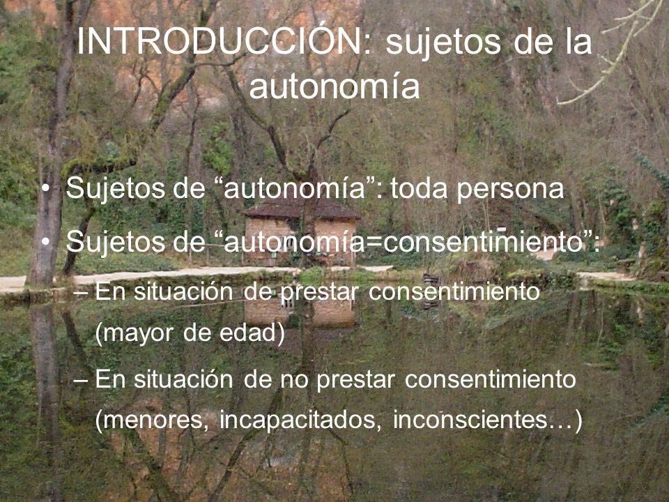 INTRODUCCIÓN: sujetos de la autonomía Sujetos de autonomía: toda persona Sujetos de autonomía=consentimiento: –En situación de prestar consentimiento