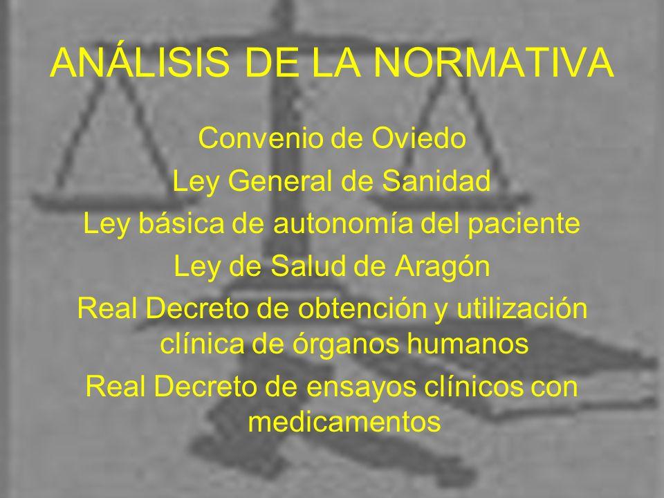ANÁLISIS DE LA NORMATIVA Convenio de Oviedo Ley General de Sanidad Ley básica de autonomía del paciente Ley de Salud de Aragón Real Decreto de obtenci
