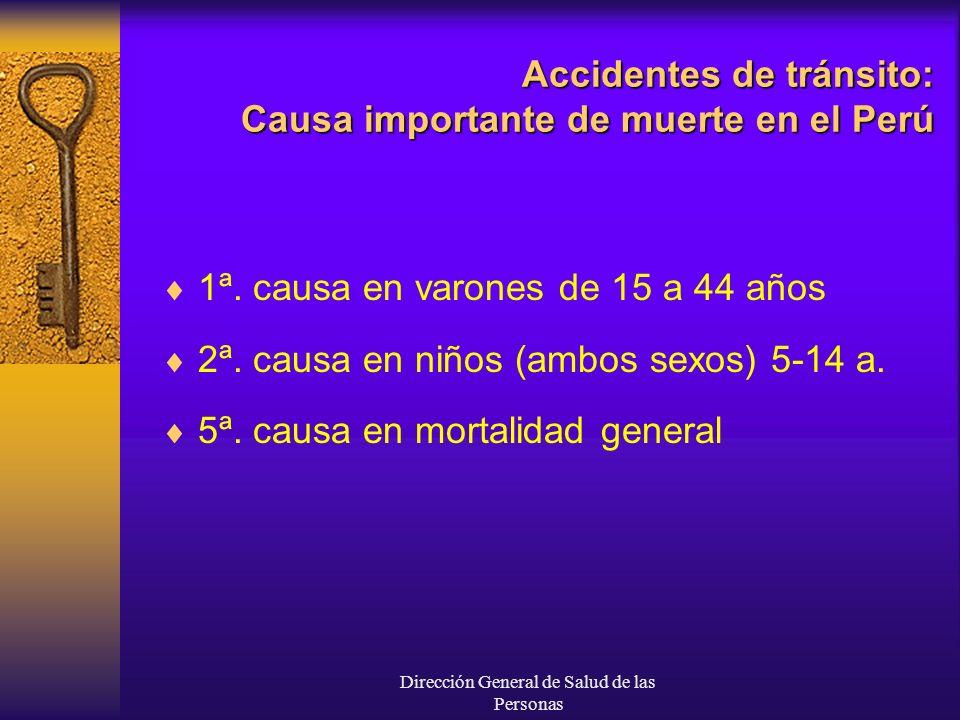 Dirección General de Salud de las Personas Accidentes de tránsito: Causa importante de muerte en el Perú 1ª. causa en varones de 15 a 44 años 2ª. caus