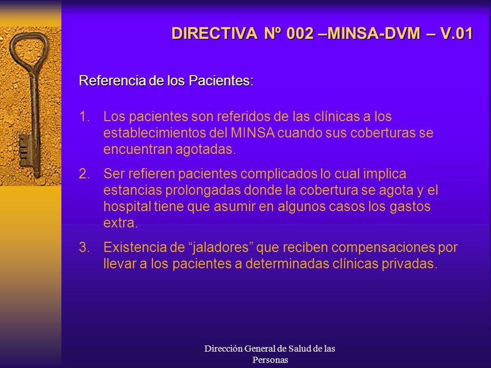 Dirección General de Salud de las Personas DIRECTIVA Nº 002 –MINSA-DVM – V.01 Referencia de los Pacientes: 1.Los pacientes son referidos de las clínicas a los establecimientos del MINSA cuando sus coberturas se encuentran agotadas.