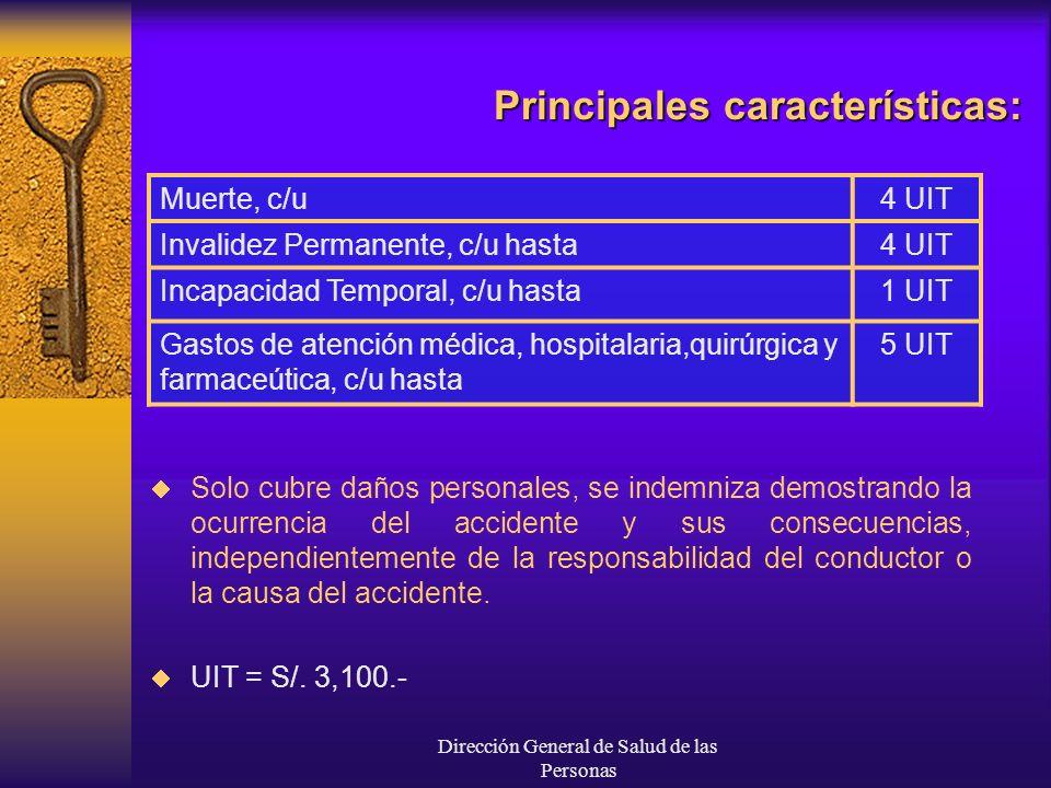 Dirección General de Salud de las Personas Principales características: Muerte, c/u4 UIT Invalidez Permanente, c/u hasta4 UIT Incapacidad Temporal, c/
