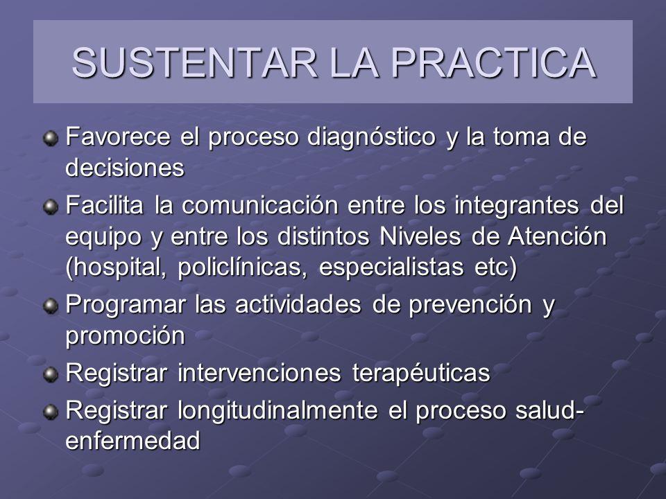 SUSTENTAR LA PRACTICA Favorece el proceso diagnóstico y la toma de decisiones Facilita la comunicación entre los integrantes del equipo y entre los di