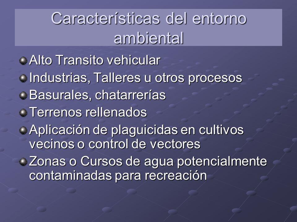 Características del entorno ambiental Alto Transito vehicular Industrias, Talleres u otros procesos Basurales, chatarrerías Terrenos rellenados Aplica
